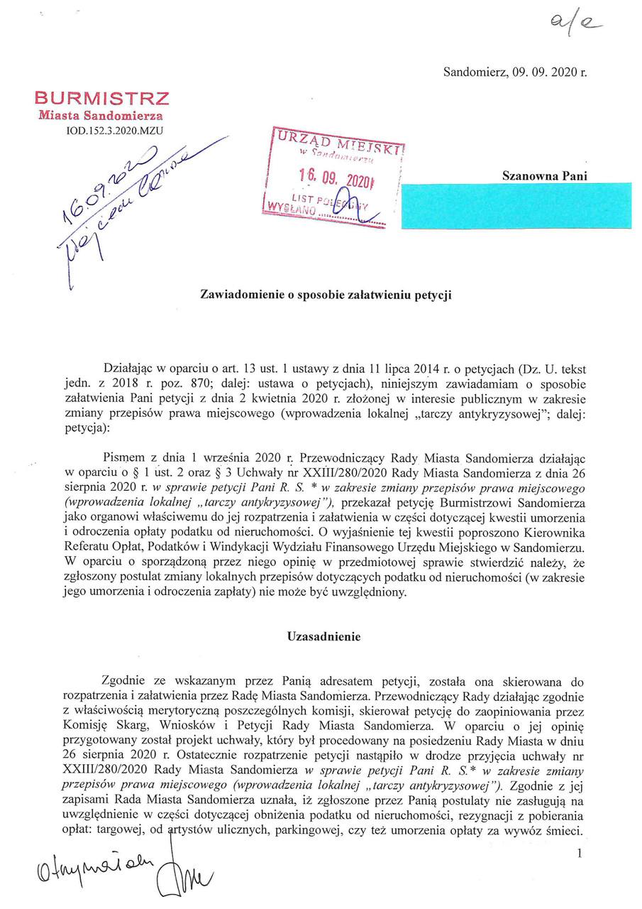 Zaświadczenie o sposobie załątwienia petycji s.1.jpeg