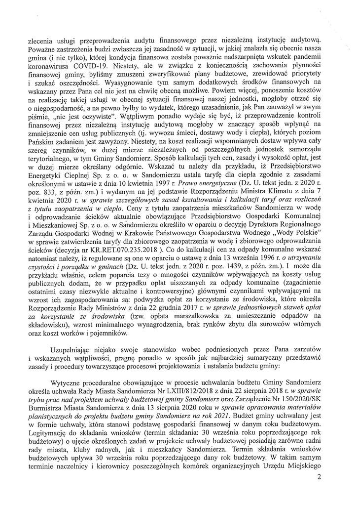 Petycja w sprawie audytu finansowego gminy, s.2