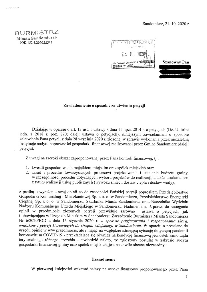 Petycja w sprawie audytu finansowego gminy, s.1