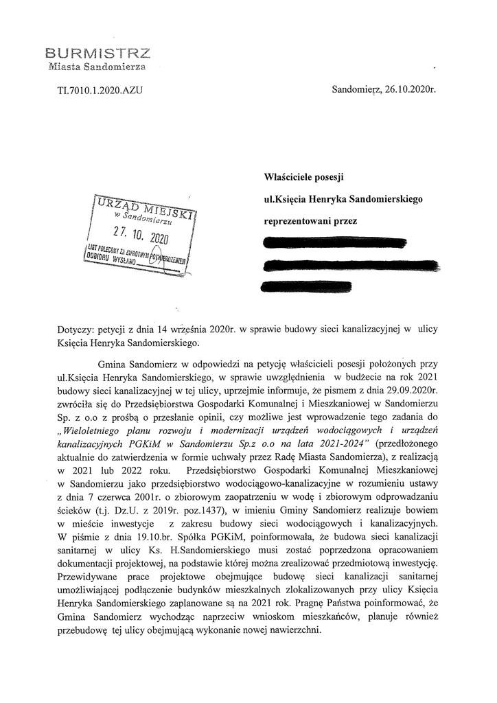 Petycja w spr. kanalizacji ul. Sandomierskiego s.1.jpeg