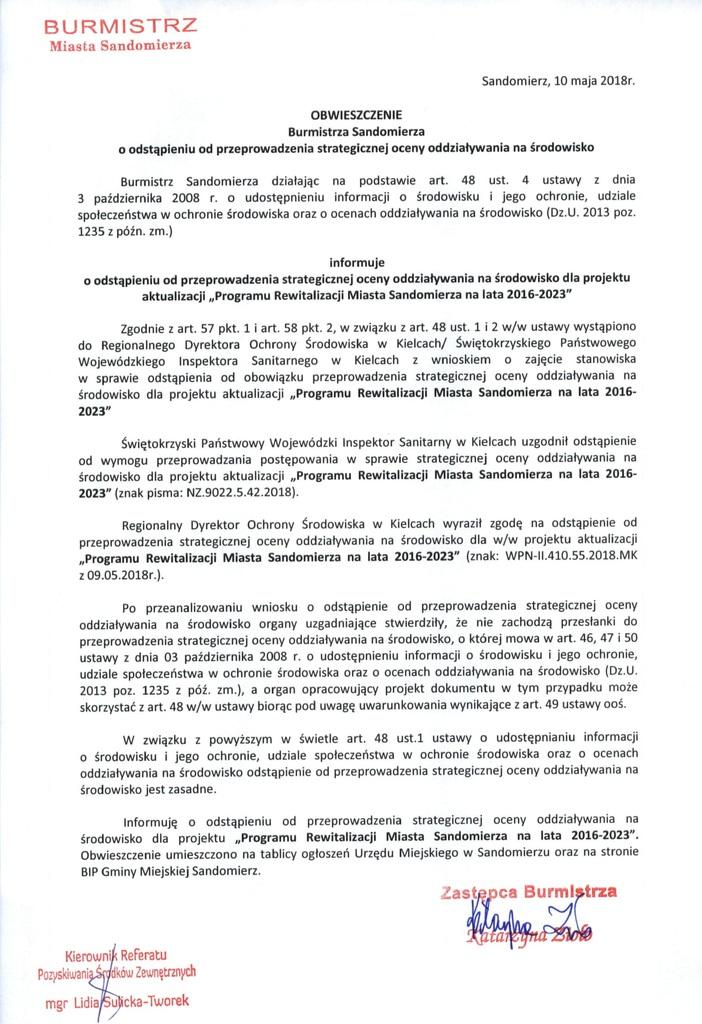 obwieszczenie Burmistrza Sandomierza; odstąpienie od oceny
