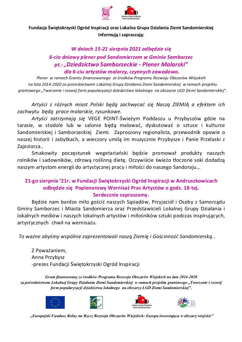 INFO i Zaproszenie na Wernisaż poplenerowy. Fundacja Świętokrzyski Ogród Inspiracji oraz Lokalna Grupa Działania Ziemi Sandomierskiej (1).jpeg