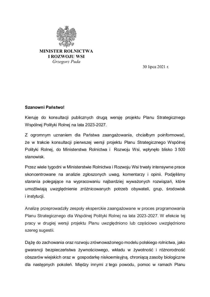 pismo Ministra Pudy zapraszające do konsultacji II etapu PS WPR.jpeg