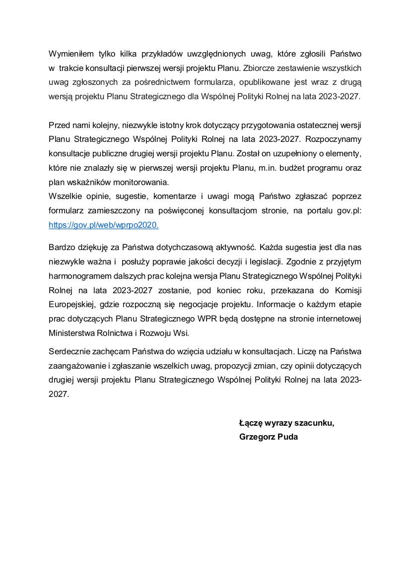 pismo Ministra Pudy zapraszające do konsultacji II etapu PS WPR3.jpeg