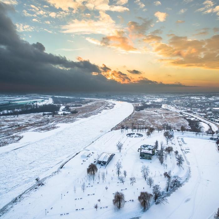 Galeria Sandomierz zimą z lotu ptaka