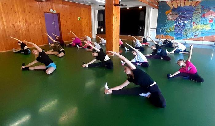 Uczestnicy warsztatów tanecznych podczas ćwiczeń.